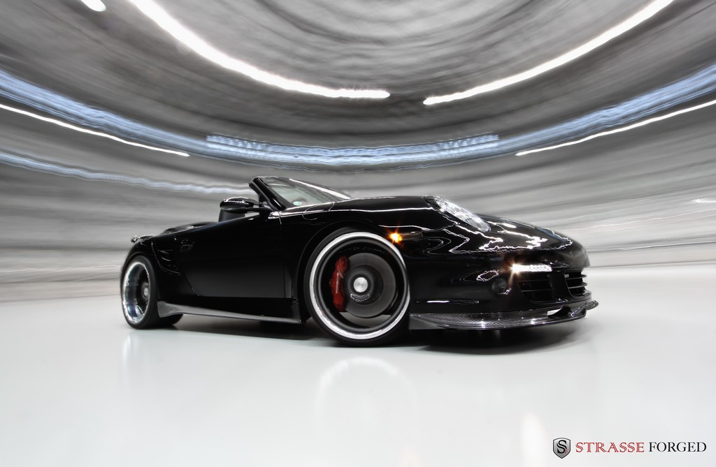 2011 black Porsche 911 Turbo cabriolet wallpapers
