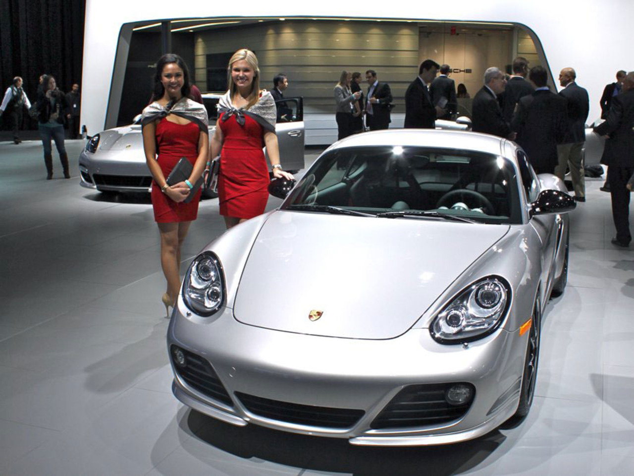 Car girl and Porsche Cayman