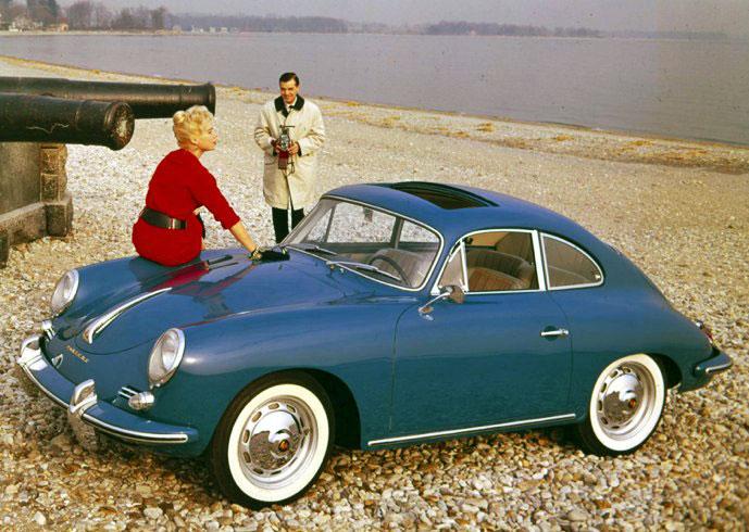 Car girl and Porsche 356 on beach