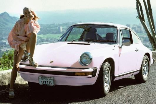Car girl and Porsche 911 pink