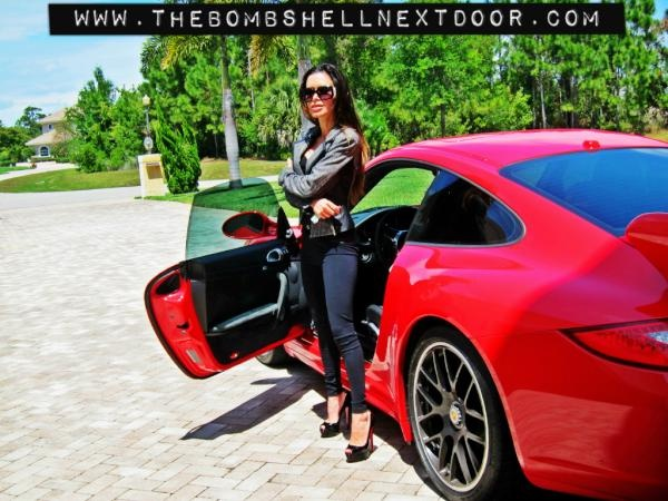 Car girl and Porsche 911 red