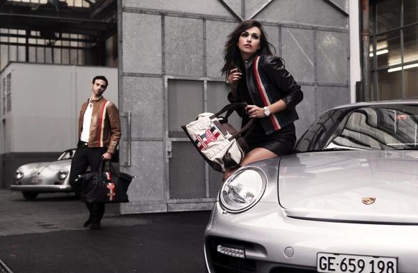 Car girl and Porsche 911 silver