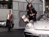 Car girl and Porsche 911 silver