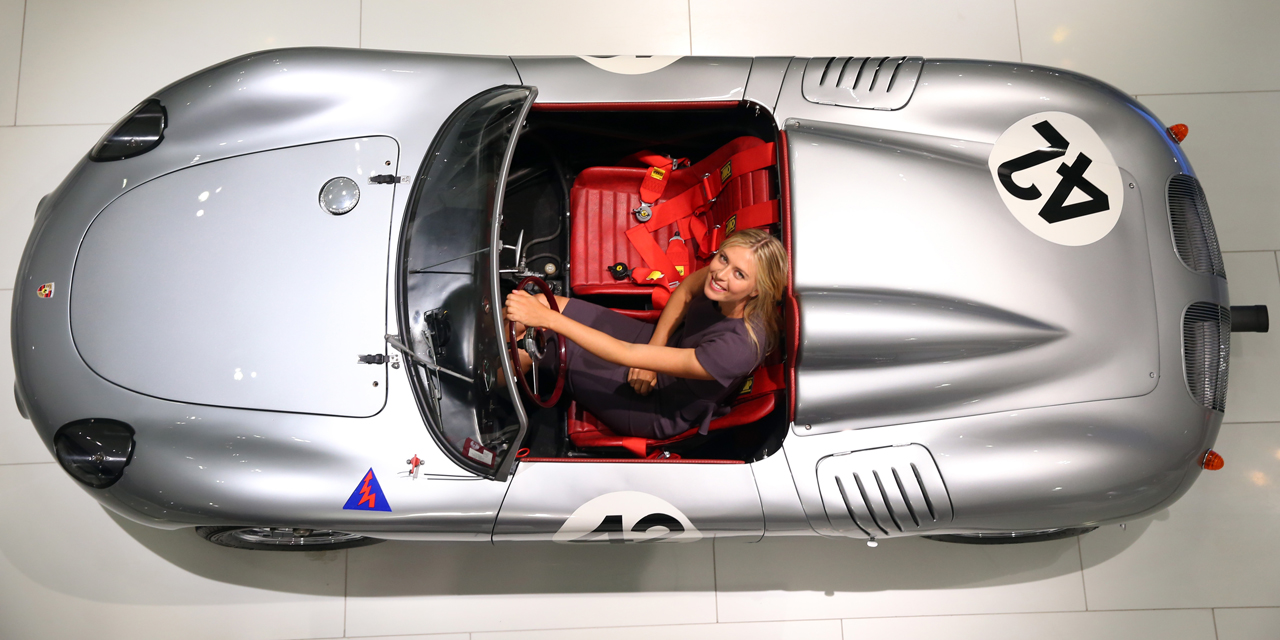 Girl and Porshe: Maria Sharapova poses at the Porsche Museum