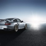 2011 Silver Porsche 911 GT2 RS wallpaper Rear angle view