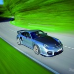 2011 silver Porsche 911 GT2 RS wallpaper Top angle view