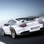 2011 white Porsche 911 GT2 RS wallpaper Rear view
