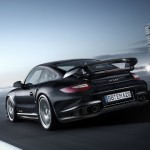 2011 black Porsche 911 GT2 RS wallpaper Rear angle view