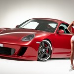 red Porsche 911 GT3 and car girl wallpaper
