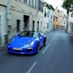 2010 blue Porsche 911 Speedster Front angle view