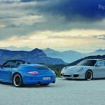 2010 blue Porsche 911 Speedster Rear angle view