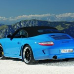 2010 blue Porsche 911 Speedster Rear angle view