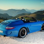 2010 blue Porsche 911 Speedster Side angle view