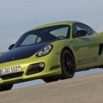 Peridot Metallic 2011 Porsche Cayman R Front angle