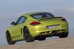 Peridot Metallic 2011 Porsche Cayman R Rear angle