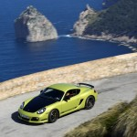 Peridot Metallic 2011 Porsche Cayman R Side angle top view