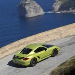Peridot Metallic 2011 Porsche Cayman R Sinde angle top view