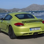 Peridot Metallic 2011 Porsche Cayman R Rear angle view