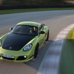 Peridot Metallic 2011 Porsche Cayman R Front top view