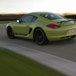 Peridot Metallic 2011 Porsche Cayman R Side angle view