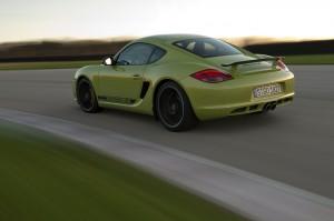 Peridot Metallic 2011 Porsche Cayman R Side angle view