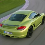 Peridot Metallic 2011 Porsche Cayman R Rear angle top view