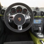 Peridot Metallic 2011 Porsche Cayman R Interior Steering wheel