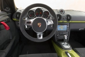 Peridot Metallic 2011 Porsche Cayman R Interior Steering wheel