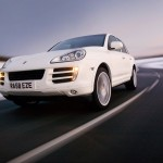 White Porsche Cayenne 2008 1600x1200 wallpaper Front angle view