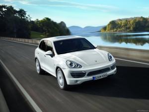 White Porsche Cayenne 2011 1600x1200 wallpaper Front angle view