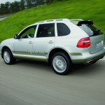 Classic Silver Metallic Porsche Cayenne Hybrid 2008 1600x1200 wallpaper Side angle view