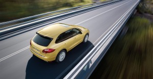 Yellow Porsche Cayenne S 2011 3000x1560 wallpaper Rear side angle top view