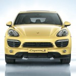 Yellow Porsche Cayenne S 2011 3000x1560 wallpaper Front view