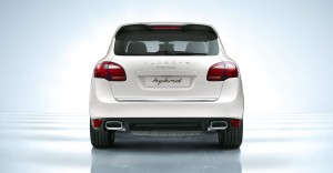 Sand White Porsche Cayenne S Hybrid 2011 3000x1560 wallpaper Rear view