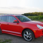 Red Porsche Cayenne S Titanium 2006 1600x1200 wallpaper Side angle view