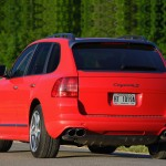 Red Porsche Cayenne S Titanium 2006 1600x1200 wallpaper Rear angle