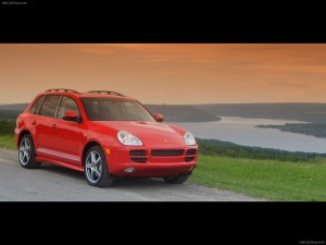 Red Porsche Cayenne S Titanium 2006 1600x1200 wallpaper Front angle view