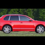Red Porsche Cayenne S Titanium 2006 1600x1200 wallpaper Side view