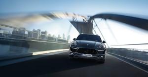 Jet Black Metallic Porsche Cayenne Turbo 2011 3000x1560 wallpaper Front view