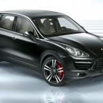 Jet Black Metallic Porsche Cayenne Turbo 2011 3000x1560 wallpaper Front angle view
