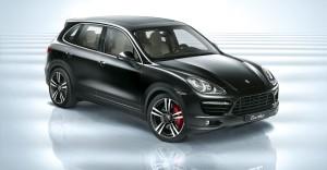 Jet Black Metallic Porsche Cayenne Turbo 2011 3000x1560 wallpaper Front angle view