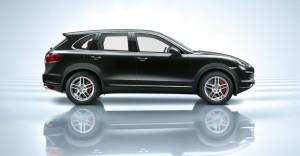 Jet Black Metallic Porsche Cayenne Turbo 2011 3000x1560 wallpaper Side view