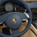 Aqua Blue Metallic Porsche Panamera 4S 2011 wallpaper Interior Steering wheel