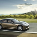 Cognac Metallic Porsche Panamera 4 2011 wallpaper Side view