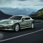 Cristal Green Metallic Porsche Panamera S Hybrid 2011 wallpaper Side angle view