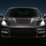 GT Silver Metallic Porsche Panamera Turbo 2011 wallpaper Front view Lights on