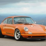 Singer Racing Orange Porsche 911 Front angle view