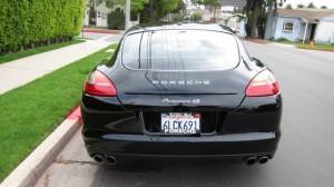 Sylvester Stallone's 2010 black Porsche Panamera 4S Rear view