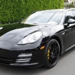 Sylvester Stallone's 2010 black Porsche Panamera 4S Front angle view