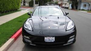Sylvester Stallone's 2010 black Porsche Panamera 4S Front view